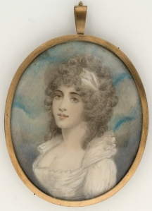 """Watercolour on ivory miniature.  State Library of NSW. Drawings : 1 watercolour on ivory miniature encased in oval shaped gold frame with glass front. The back of the frame is lined in black fabric and covered with glass. At the top centre of frame is a metal loop with wire attached to assist in hanging. ; 7.8 x 6.4 cm. inside frame (sight) - 8.5 x 7.1 cm. (frame), 1.5 cm. (loop) Titled from paper label on reverse of frame, in the hand of Sir William Dixson: """"Mrs John / Macarthur"""""""